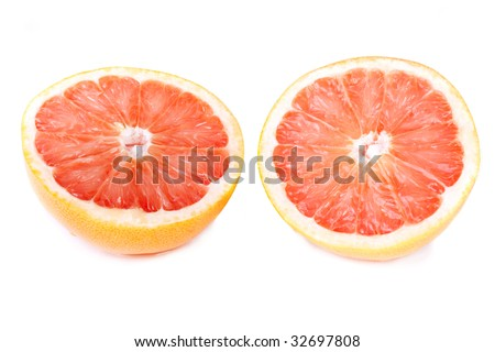 juicy red grapefruit isolated on white background