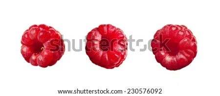 juicy red ripe raspberries isolated on white background - stock photo