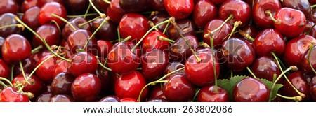 Juicy ripe cherries full of vitamins - background - stock photo