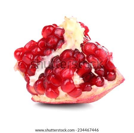 Juicy ripe pomegranate, isolated on white - stock photo