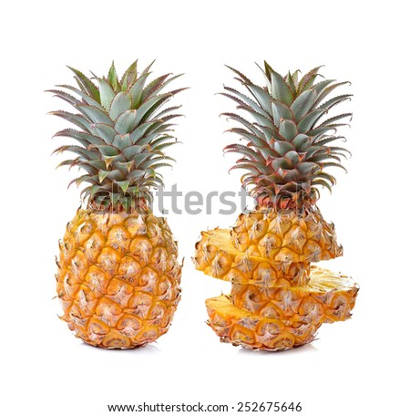 Juicy ripe sliced pineapple isolated on white background - stock photo