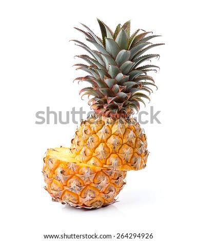 Juicy ripe sliced pineapple isolated on white background - stock photo