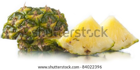 Juicy ripe tasty pineapple on a white background.