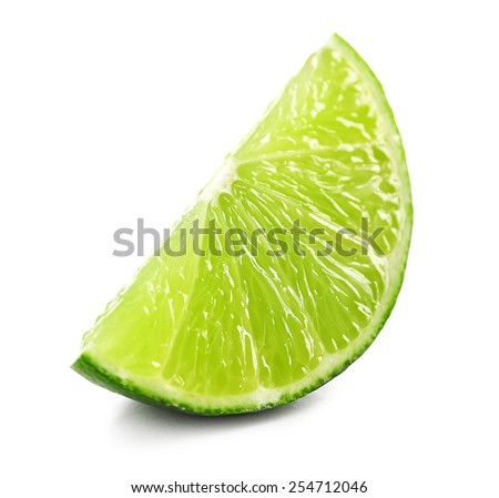 Juicy slice of lime isolated on white - stock photo