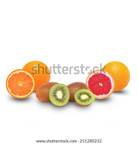 Juicy sliced fruits - orange, kiwi and grapefruit on a white background - stock photo