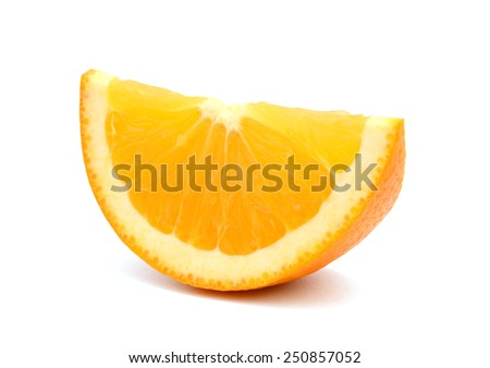 Juicy sliced of a orange on a white background - stock photo