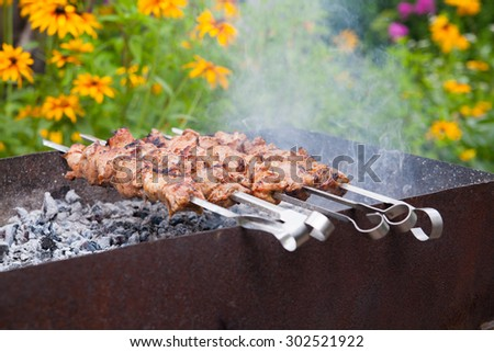 Juicy slices of meat with sauce prepare on fire .shish kebab - stock photo
