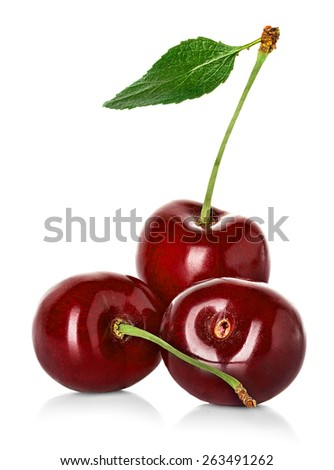 Juicy sweet cherry with leaf isolated on white background - stock photo