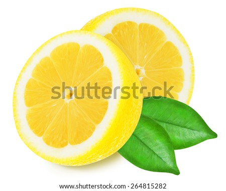Juicy yellow lemon slices with leaves on a white background isolated - stock photo