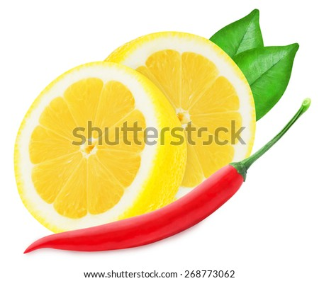 Juicy yellow lemon with a red chilli pepper isolated on a white background  - stock photo