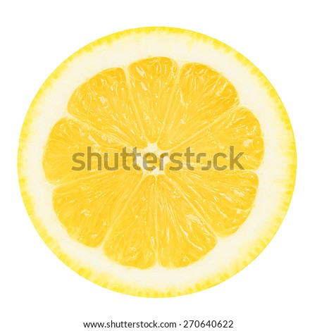 Juicy yellow slice of lemon on a white background isolated - stock photo