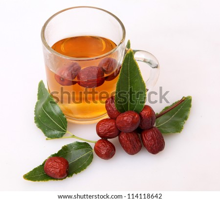 jujube tree branch full of fruits - stock photo