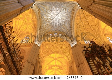 JUL 11 2015: Beautiful decorations on the Gothic ceiling of the Cathedral of Saint Mary of the See (Seville Cathedral) in Seville, Andalusia, Spain
