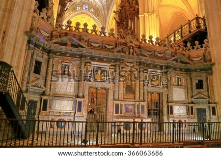 JUL 11 2015: Detail of the beautiful interior of the Cathedral of Saint Mary of the See (Seville Cathedral) in Seville, Andalusia, Spain