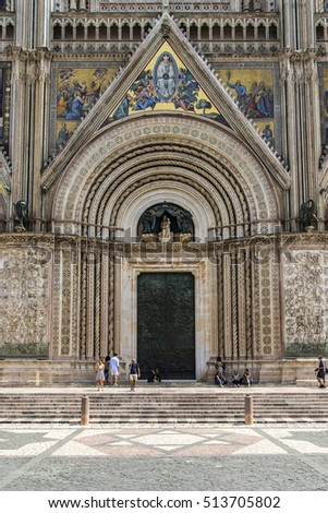 Jul, 2016 - Orvieto, Italy: The main gate of the Orvieto's Cathedral.