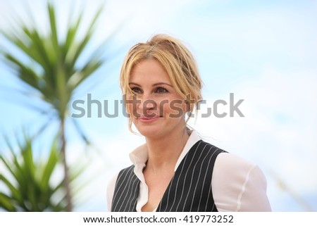 Julia Roberts attends the 'Money Monster' photocall during the 69th annual Cannes Film Festival at the Palais des Festivals on May 12, 2016 in Cannes, France. - stock photo