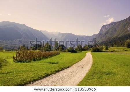 Julian Alps -  panorama around lake Bled, Slovenia - stock photo