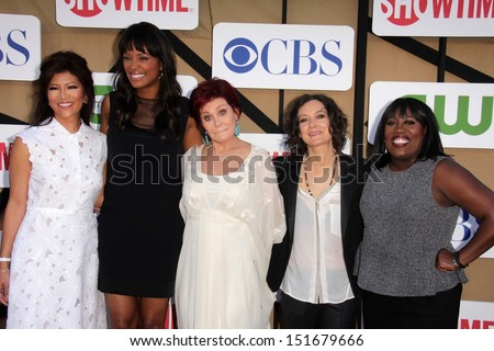 Julie Chen, Aisha Tyler, Sharon Osbourne, Sara Gilbert and Sheryl Underwood at the CBS, Showtime, CW 2013 TCA Summer Stars Party, Beverly Hilton Hotel, Beverly Hills, CA 07-29-13 - stock photo