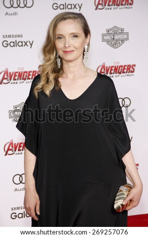Julie Delpy at the World premiere of Marvel's 'Avengers: Age Of Ultron' held at the Dolby Theatre in Hollywood, USA on April 13, 2015.