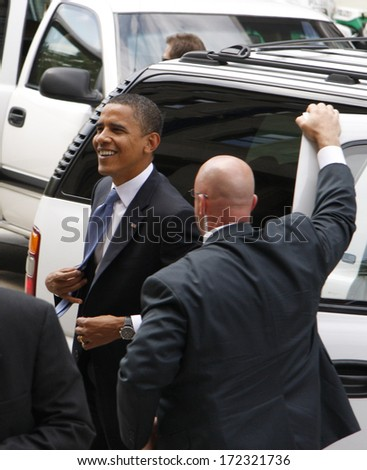 JULY 28, 2008 - BERLIN: Barack Obama, bodyguards - meeting of the German foreign minister with the candidate for presidency in the Foreign Ministry in Berlin. - stock photo