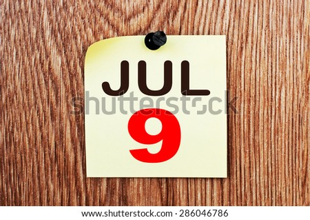 July 9 Calendar. Part of a set - stock photo