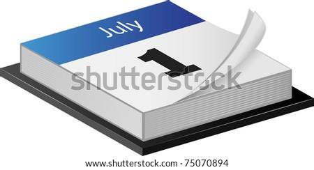 July Calender illustration on white - stock photo