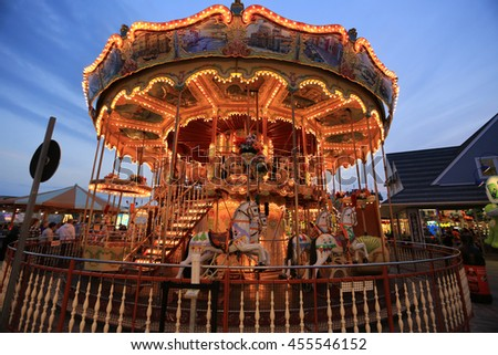 July 11,2016 Carousel horse ride on boardwalk in Wildwood New Jersey. - stock photo
