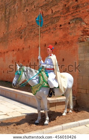 July 10, 2015: Ceremonial guard on a horse at Hassan Tower in Rabat, Morocco  - stock photo