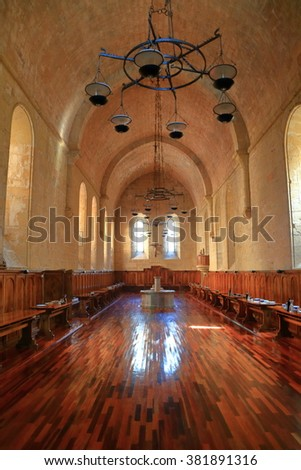 July 15, 2015: Dining room of the Royal Abbey of Santa Maria de Poblet (Poblet Monastery) in Catalonia, Spain
