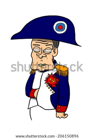 JULY 21, 2014: Illustration of Vladimir Putin dressed as Napoleon Bonaparte - stock photo