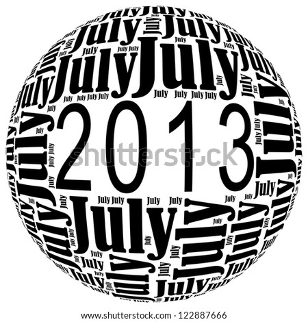 July 2013 info-text graphics arrangement on white background - stock photo