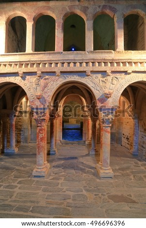 JULY 04, 2015: Marble carvings on the columns inside the church of Serrabone Priory, Pyrenees-Orientales department, France