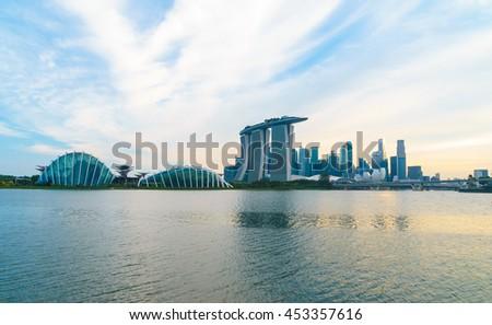 July 9, 2016 - Marina bay befor sunset, Singapore city scape - stock photo