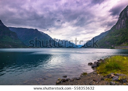 July 21, 2015: Panorama of a fjord in the norwegian countryside, Norway