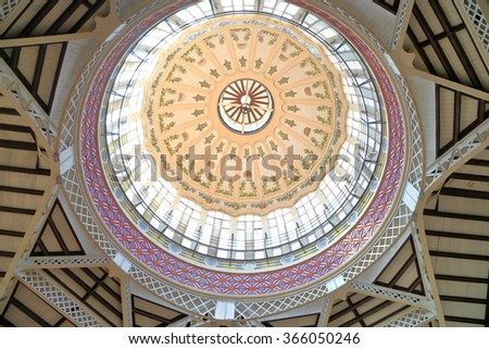 JULY 06, 2015: Round ceiling above the Central Market (Mercado Central or Mercat Central) - a public market located in Valencia, Spain