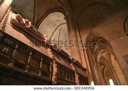July 15, 2015: Stone statues decorating the burial places of the Catalan Monarchs inside the Church of the Royal Abbey of Santa Maria de Poblet (Poblet Monastery) in Catalonia, Spain