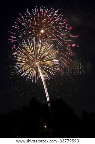 July 4th Fireworks display - stock photo