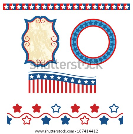 July 4th patriotic banner set 5.Raster (borders can be repeated seamlessly) - stock photo
