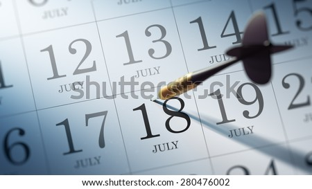 July 18 written on a calendar to remind you an important appointment.