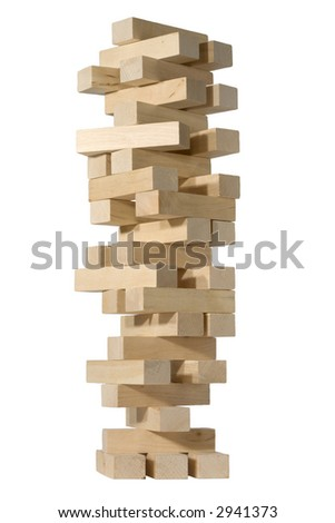 Jumbling tower with clipping path - stock photo