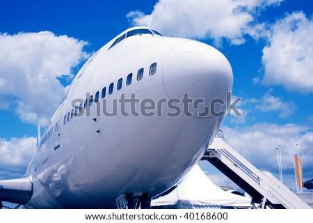 Jumbo Jet on the ground - stock photo