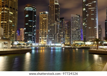 Jumeirah Lakes Towers at night. Dubai, United Arab Emirates - stock photo
