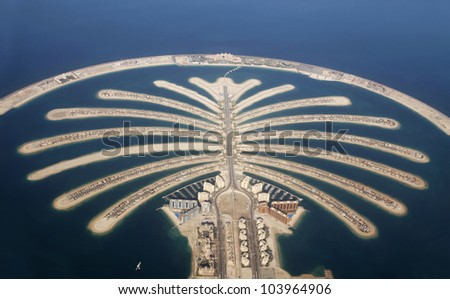 Jumeirah Palm Island Development In Dubai - stock photo