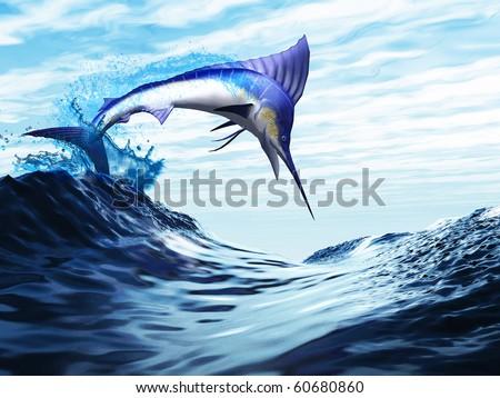 JUMP - A beautiful blue marlin bursts through a wave in a spectacular jump. - stock photo