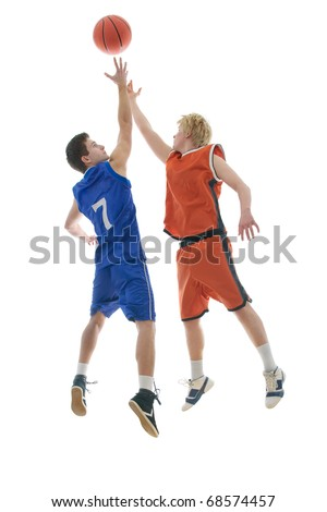 Jump Ball to start the game - stock photo