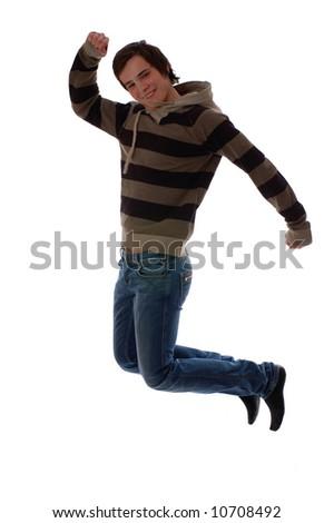 jump for joy isolated on white background - stock photo