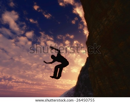 Jump from the cliff - stock photo