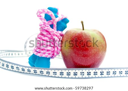 Jump rope, apple and centimeter (show 60, ideal measure for waist) - stock photo
