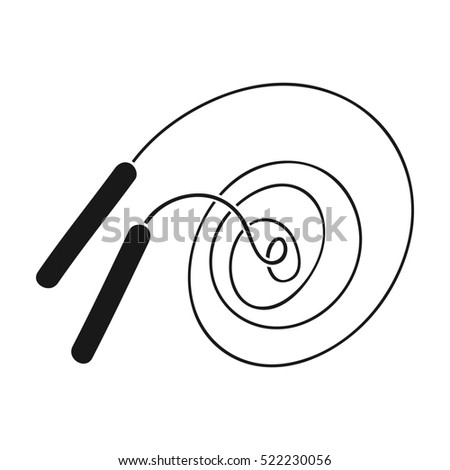 Jump rope icon in black style isolated on white background. Sport and fitness symbol stock bitmap illustration.