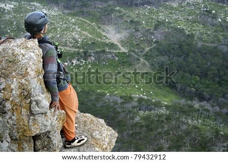 Jump to rope.Shaan Kaya Crimea. - stock photo